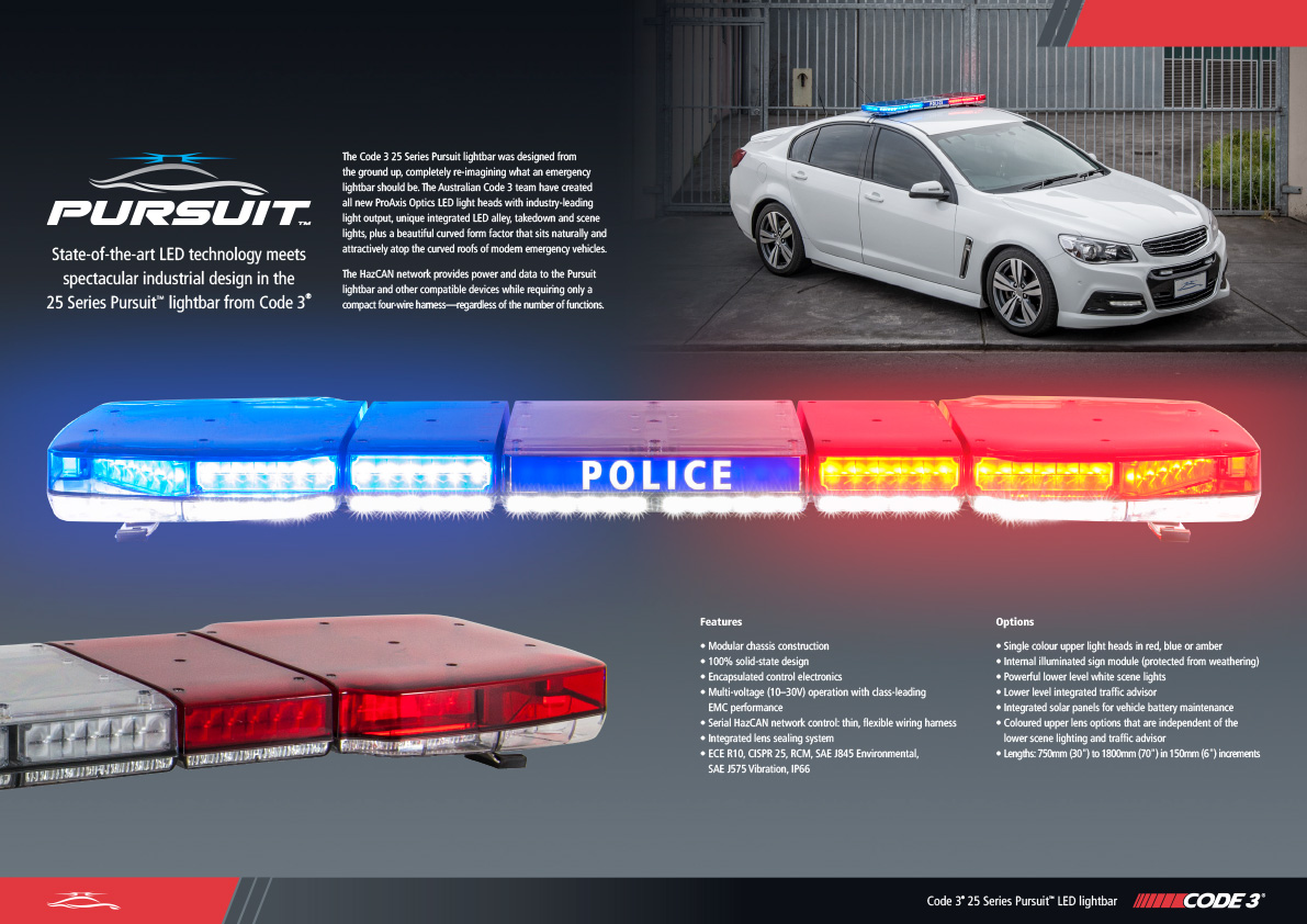 code 3 pursuit led lightbar 25 series esg asia pacific rh eccosafetygroup com au code 3 mx7000 light bar wiring diagram code 3 lightbar wiring diagram