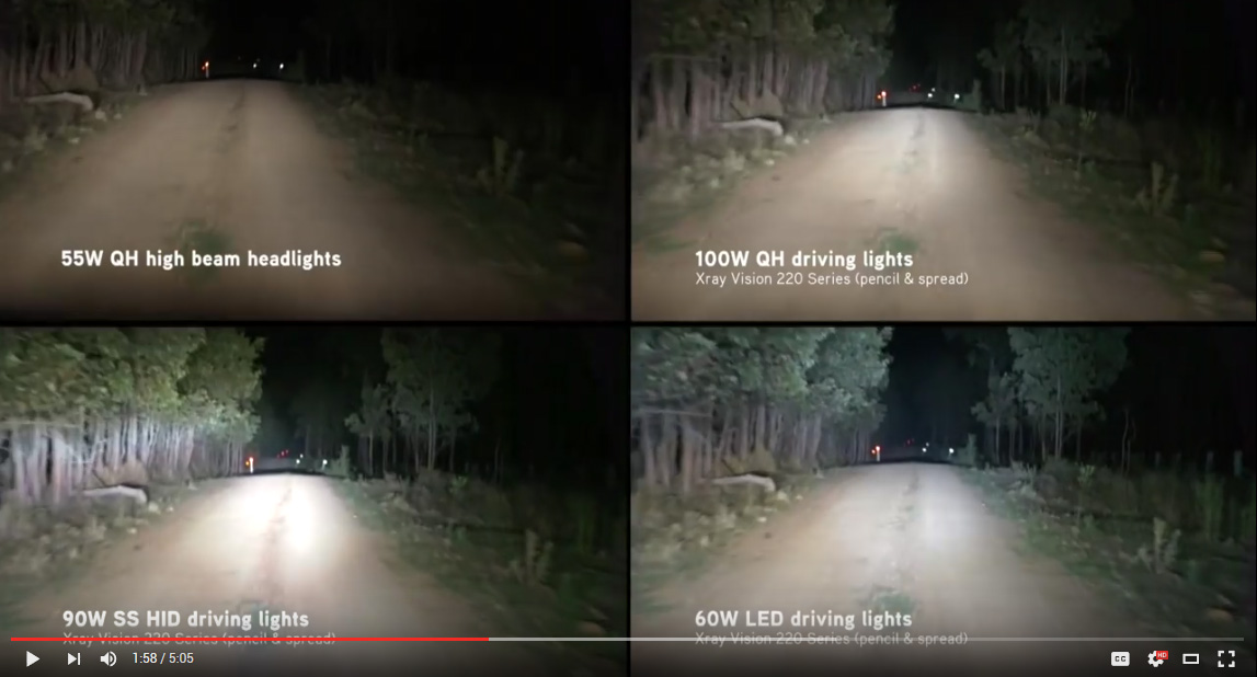 Quartz Halogen vs HID vs LED driving lights video